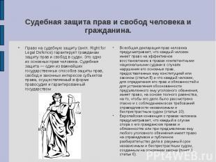 Судебная защита прав и свобод человека и гражданина. Право на судебную защиту (а