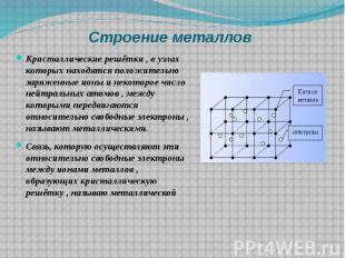Строение металлов Кристаллические решётки , в узлах которых находятся положитель