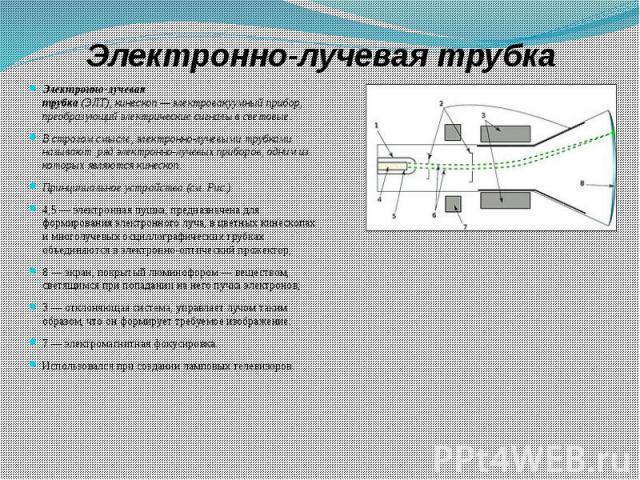 Электронно-лучевая трубка Электронно-лучевая трубка(ЭЛТ),кинескоп—электровакуумный прибор, преобразующий электрические сигналы в световые. В строгом смысле, электронно-лучевыми трубками называют рядэлектронно-луче…