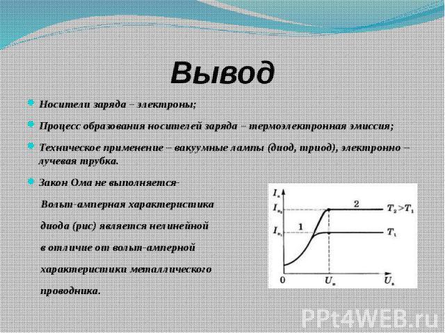 Вывод Носители заряда – электроны; Процесс образования носителей заряда – термоэлектронная эмиссия; Техническое применение – вакуумные лампы (диод, триод), электронно – лучевая трубка. Закон Ома не выполняется- Вольт-амперная характеристика диода (р…
