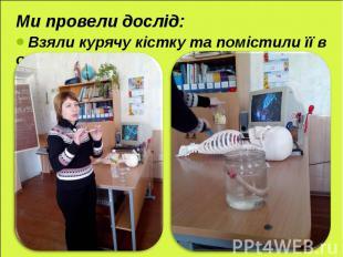 Ми провели дослід: Ми провели дослід: Взяли курячу кістку та помістили її в оцет