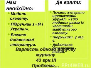 Модель скелету. Підручник з «Я і України». Багато додаткової літератури. Почати