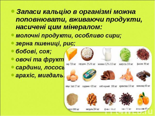 Запаси кальцію в організмі можна поповнювати, вживаючи продукти, насичені цим мінералом: молочні продукти, особливо сири; зерна пшениці, рис; бобові, соя; овочі та фрукти; сардини, лосось; арахіс, мигдаль…