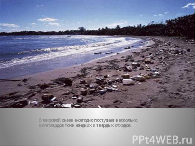 В мировой океан ежегодно поступает несколько миллиардов тонн жидких и твердых отходов
