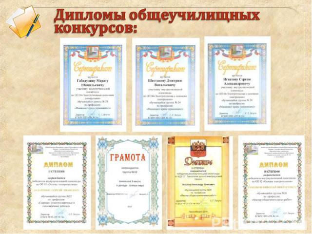 Дипломы общеучилищных конкурсов: