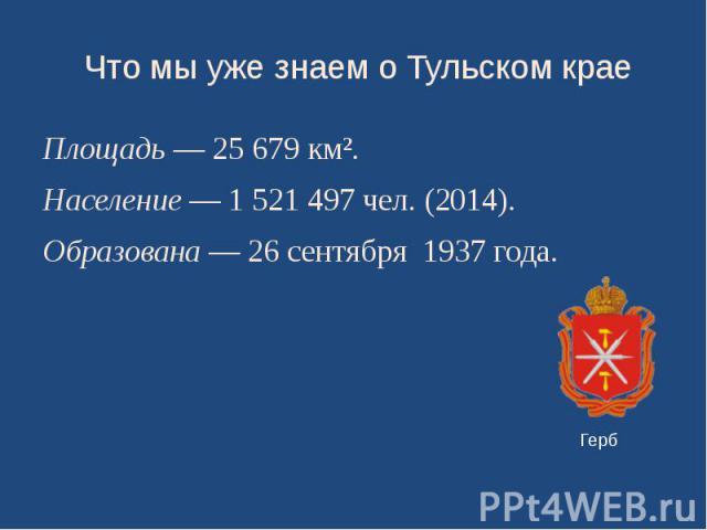 Что мы уже знаем о Тульском крае Площадь— 25679 км². Население— 1521497 чел. (2014). Образована—26 сентября 1937 года.