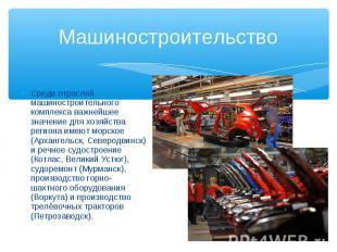 Среди отраслей машиностроительного комплекса важнейшее значение для хозяйства ре