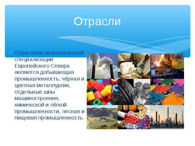 Отрасли Отраслями промышленной специализации Европейского Севера являются добывающая промышленность, чёрная и цветная металлургия, отдельные швы машиностроения, химической и лёгкой промышленности, лесная и пищевая промышленность.