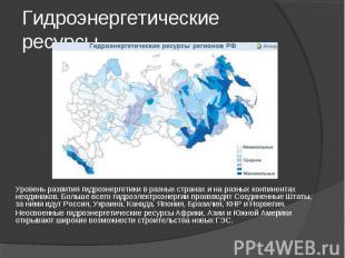 Гидроэнергетические ресурсы. Уровень развития гидроэнергетики в разных странах и