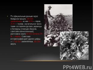 По официальным данным через Майданек прошло 300 000 заключённых, из них 40 % — е