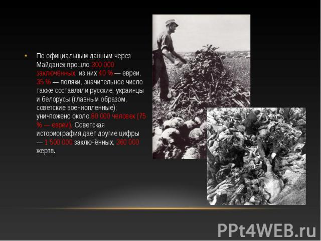 По официальным данным через Майданек прошло 300 000 заключённых, из них 40 % — евреи, 35 % — поляки, значительное число также составляли русские, украинцы и белорусы (главным образом, советские военнопленные); уничтожено около 80 000 человек (75 % —…
