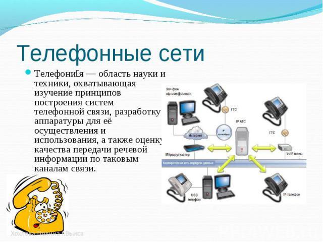 Телефони я — область науки и техники, охватывающая изучение принципов построения систем телефонной связи, разработку аппаратуры для её осуществления и использования, а также оценку качества передачи речевой информации по таковым каналам связи. Телеф…