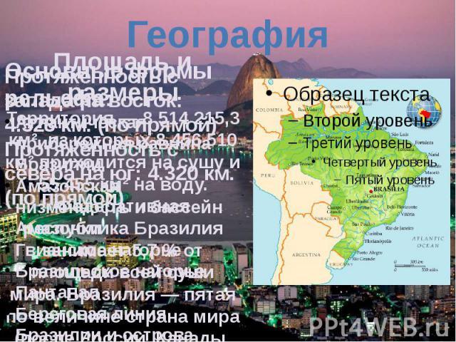 ГеографияОсновные формы рельефа: Атлантическая прибережная равнина Бразилии Амазонская низменностьибассейн Амазонки Гвианское нагорье Бразильское нагорье Пантанал Береговая линия Бразилиииострова Бразилии