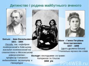 Батько - Іван Васильович 1821 - 1884 Посади: зав. кафедрою політекономії в Київс
