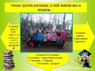 Наша группа речевая, в ней живем мы и играем… В группе дети с ТНР, ОНР, I, II и
