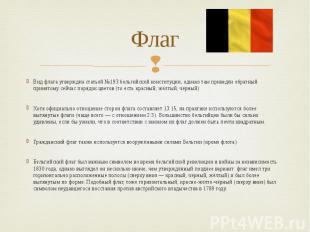 Флаг Вид флага утверждён статьёй №193 бельгийской конституции, однако там привед
