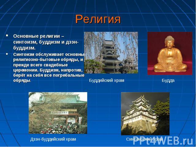 Основные религии – синтоизм, буддизм и дзэн-буддизм. Основные религии – синтоизм, буддизм и дзэн-буддизм. Синтоизм обслуживает основные религиозно-бытовые обряды, и прежде всего свадебные церемонии. Буддизм, напротив, берёт на себя все погребальные …