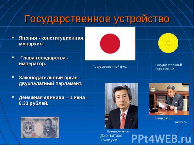 Япония - конституционная монархия. Япония - конституционная монархия. Глава государства - император. Законодательный орган - двухпалатный парламент. Денежная единица – 1 иена = 0,33 рублей.