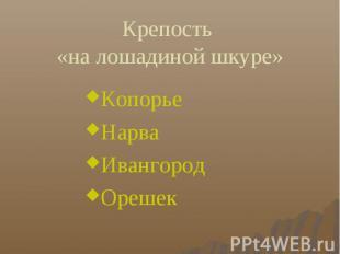 Крепость «на лошадиной шкуре» Копорье Нарва Ивангород Орешек