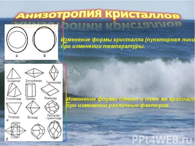 Анизотропия кристаллов Изменение формы кристалла (пунктирная линия) при изменении температуры. Изменение формы одного и того же кристалла при изменении различных факторов.