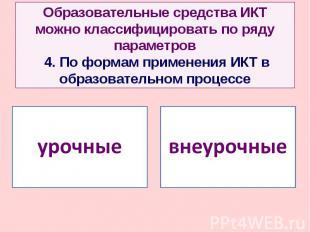 Образовательные средства ИКТ можно классифицировать по ряду параметров 4. По фор