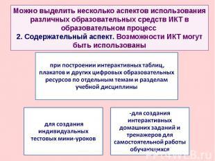 Можно выделить несколько аспектов использования различных образовательных средст
