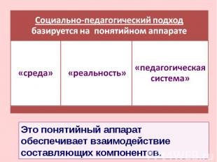 Социально-педагогический подход базируется на понятийном аппарате Это понятийный
