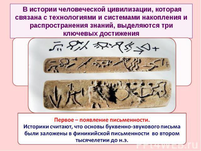 В истории человеческой цивилизации, которая связана с технологиями и системами накопления и распространения знаний, выделяются три ключевых достижения Первое – появление письменности. Историки считают, что основы буквенно-звукового письма были залож…