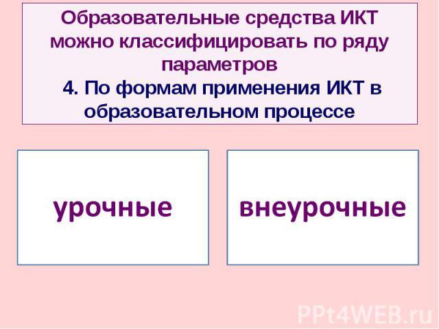 Образовательные средства ИКТ можно классифицировать по ряду параметров 4. По формам применения ИКТ в образовательном процессе