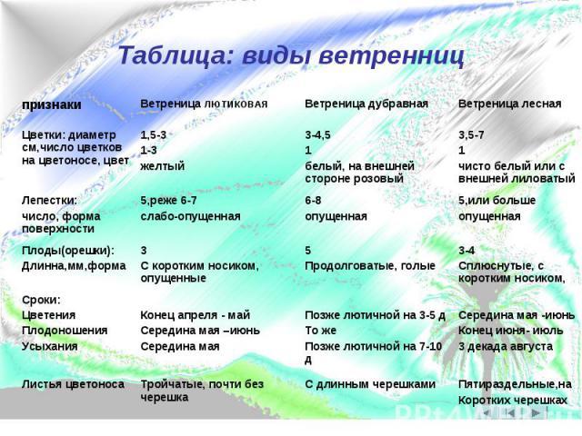 Таблица: виды ветренниц