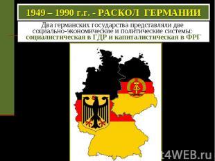 1949 – 1990 г.г. - РАСКОЛ ГЕРМАНИИ Два германских государства представляли две с