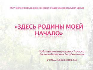 МОУ Малозиновьевская основная общеобразовательная школа «Здесь Родины моей начал