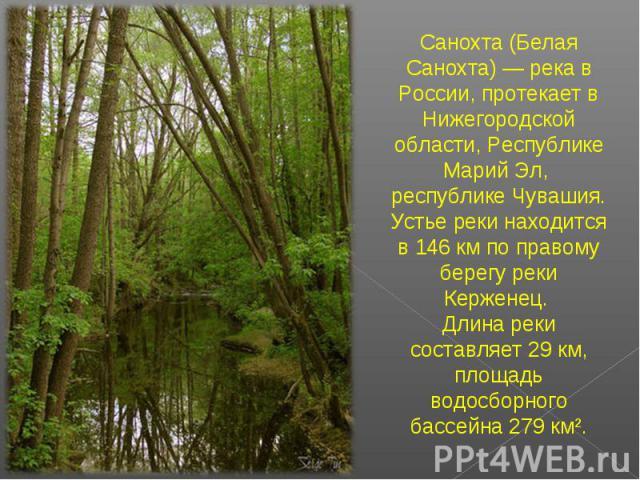 Санохта (Белая Санохта) — река в России, протекает в Нижегородской области, Республике Марий Эл, республике Чувашия. Устье реки находится в 146 км по правому берегу реки Керженец. Длина реки составляет 29 км, площадь водосборного бассейна 279 км².