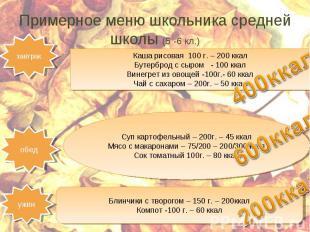 Примерное меню школьника средней школы (5 -6 кл.)Каша рисовая 100 г. – 200 ккал
