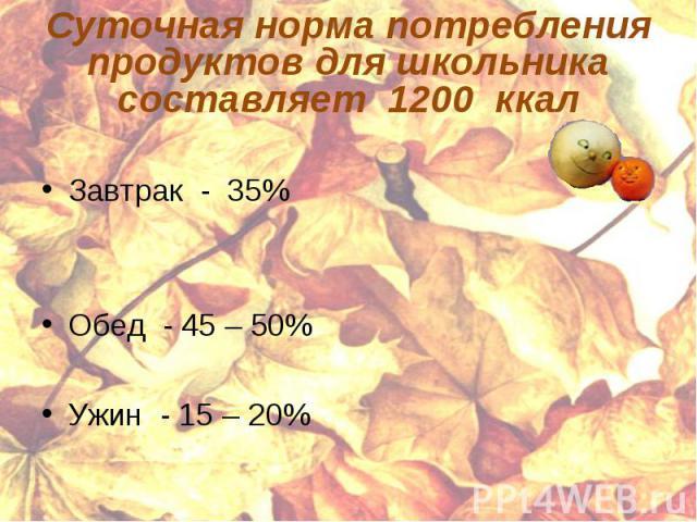 Суточная норма потребления продуктов для школьника составляет 1200 ккал