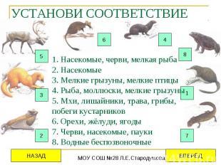 УСТАНОВИ СООТВЕТСТВИЕ 1. Насекомые, черви, мелкая рыба 2. Насекомые 3. Мелкие гр