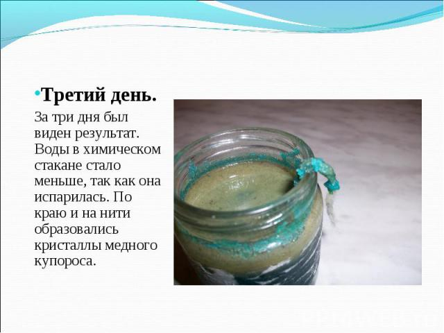 Третий день. За три дня был виден результат. Воды в химическом стакане стало меньше, так как она испарилась. По краю и на нити образовались кристаллы медного купороса.