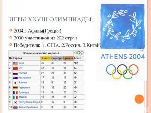 Игры XXVIII Олимпиады2004г. Афины(Греция) 3000 участников из 202 стран Победител