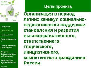 Цель проекта Организация в период летних каникул социально педагогической поддер