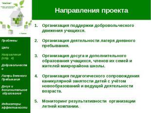 Направления проекта Организация поддержки добровольческого движения учащихся. Ор