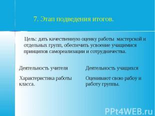 7. Этап подведения итогов. Цель: дать качественную оценку работы мастерской и от