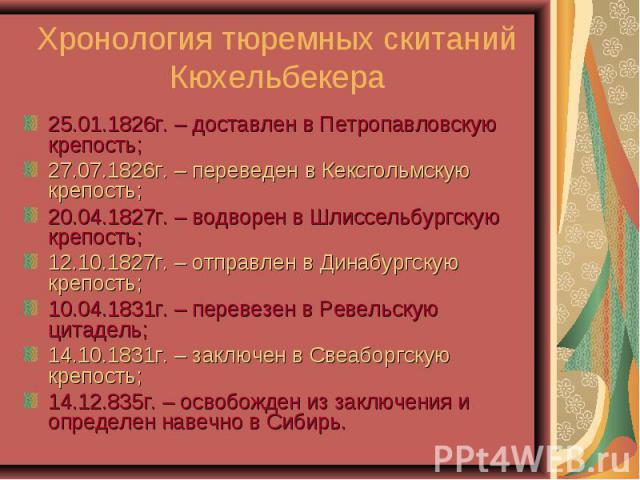 Хронология тюремных скитаний Кюхельбекера25.01.1826г. – доставлен в Петропавловскую крепость; 27.07.1826г. – переведен в Кексгольмскую крепость; 20.04.1827г. – водворен в Шлиссельбургскую крепость; 12.10.1827г. – отправлен в Динабургскую крепость; 1…