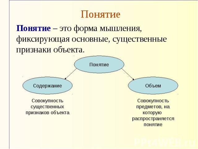 Понятие Понятие – это форма мышления, фиксирующая основные, существенные признаки объекта.