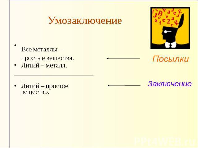 УмозаключениеВсе металлы – простые вещества. Литий – металл. _________________________ Литий – простое вещество.