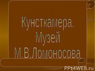 Кунсткамера. Музей М.В.Ломоносова