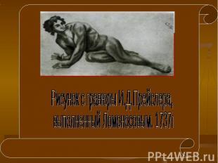Рисунок с гравюры И.Д.Прейслера, выполненный Ломоносовым. 1737г