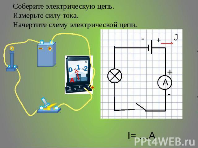 Соберите электрическую цепь. Измерьте силу тока. Начертите схему электрической цепи.