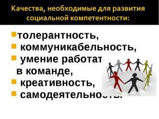 Качества, необходимые для развития социальной компетентности: толерантность, ком