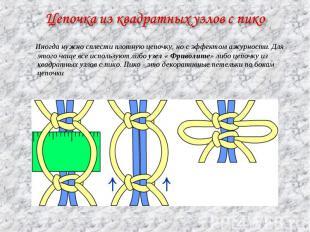 Цепочка из квадратных узлов с пико Иногда нужно сплести плотную цепочку, но с эф