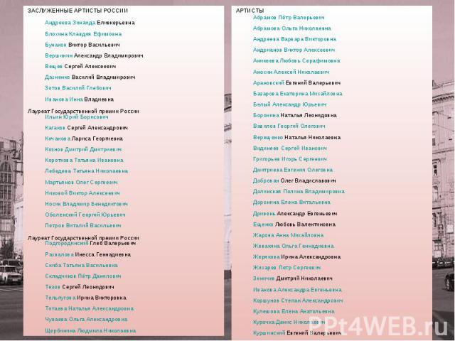 ЗАСЛУЖЕННЫЕ АРТИСТЫ РОССИИ Андреева Зинаида Еливкерьевна Блохина Клавдия Ефимовна Бунаков Виктор Васильевич Вершинин Александр Владимирович Вещев Сергей Алексеевич Дахненко Василий Владимирович Зотов Василий Глебович Иванова Инна Владиевна Лауреат Г…